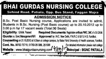 Post Basic BSc Nursing Course (Bhai Gurdas General Nursing School)
