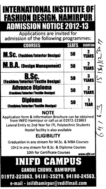 MBA, BSc and MSc Courses (International Institute of Fashion Designing (INIFD))