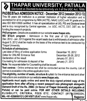 PhD and BTech Program (Thapar Institute of Engineering and Technology University)