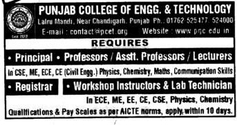 Principal, Professor and Lecturers etc (Punjab College of Engineering and Technology)