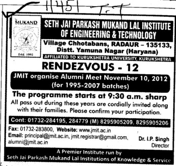 Rendezvous 2012 (Seth Jai Parkash Mukand Lal Institute of Engineering and Technology (JMIT))
