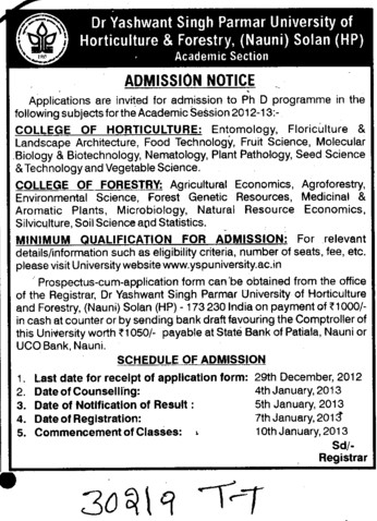 PhD Programme (Dr Yashwant Singh Parmar University of Horticulture and Forestry)
