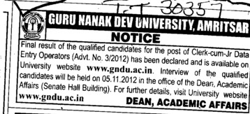 Clerk cum Junior Data Entry Operator (Guru Nanak Dev University (GNDU))