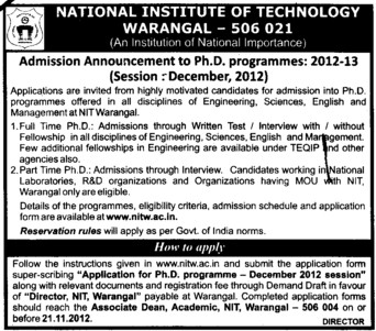 PhD Programme (National Institute of Technology NIT)