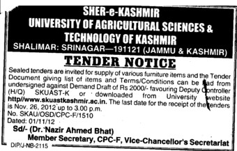 Furniture Items (Sher-e-Kashmir University of Agricultural Sciences and Technology of Kashmir)