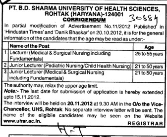 Lecturer and junior Lecturer (Pt BD Sharma University of Health Sciences (BDSUHS))