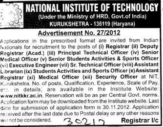 Senior Medical Officer and Registrar etc (National Institute of Technology (NIT))