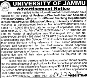 Director, Professor and Librarian etc (Jammu University)