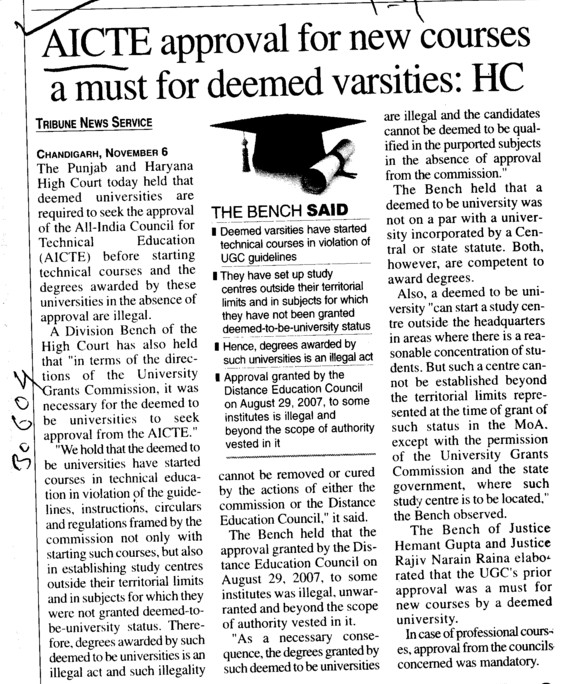 AICTE approval for new courses a must for deemed varsities, HC (All India Council for Technical Education (AICTE))