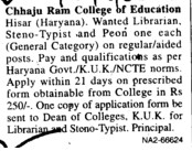 Steno Typist and Peon (CHHAJU RAM COLLEGE OF EDUCATION)