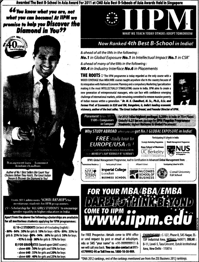 Ranked 4 th bast b school in India (Indian Institute of Planning and Management (IIPM))