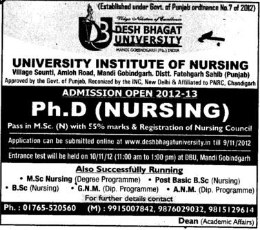 PhD Nursing (Desh Bhagat University)