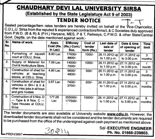 Const of Shed etc (Chaudhary Devi Lal University CDLU)