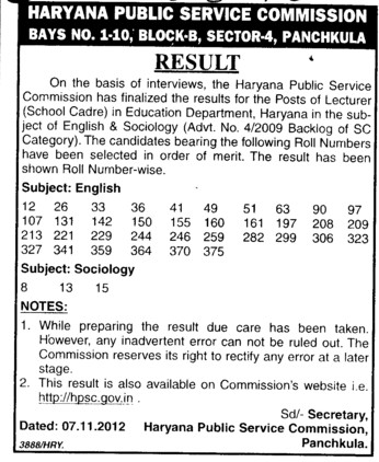 Result for the post of lecturer (Haryana Public Service Commission (HPSC))