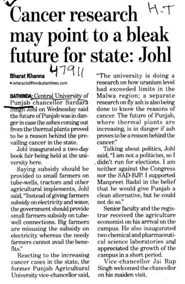 Cancer Research may point to a bleak future for state, Johl (Central University of Punjab)
