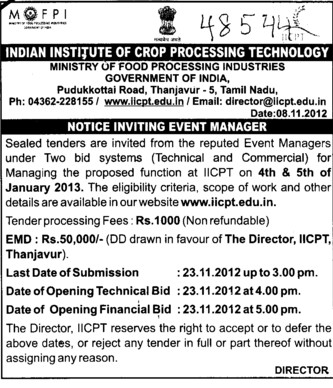 Event Manager (Indian Institute of Crop Processing Technology (IICPT))