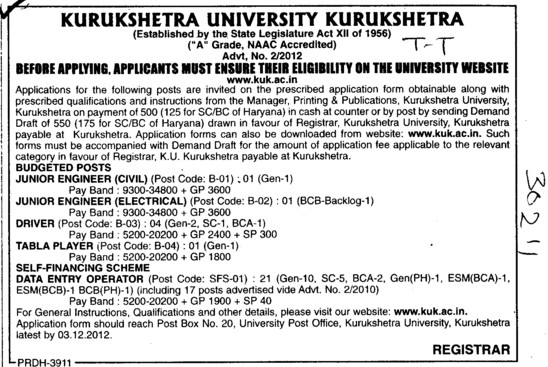 Junior Engineer and Tabla Player etc (Kurukshetra University)