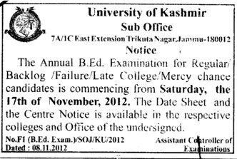 Mercy Chance for B Ed Exam (University of Kashmir Hazbartbal)