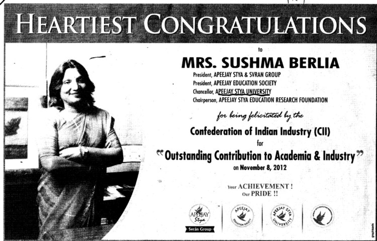 Heartiest Congrats to Mrs Sushma Berlia (Apeejay Stya University)
