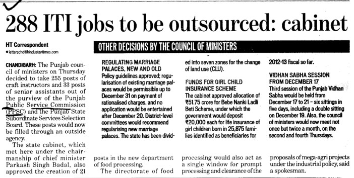 288 ITI jobs to be outsourced, Cabinet (Punjab Public Service Commission (PPSC))