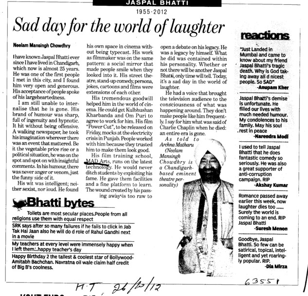 Sad day for the world of laughter (Mad Arts Jaspal Bhatti Film School)