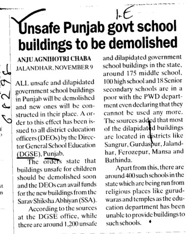 Unsafe Punjab govt school buildings to be demolished (Director General School Education DGSE Punjab)