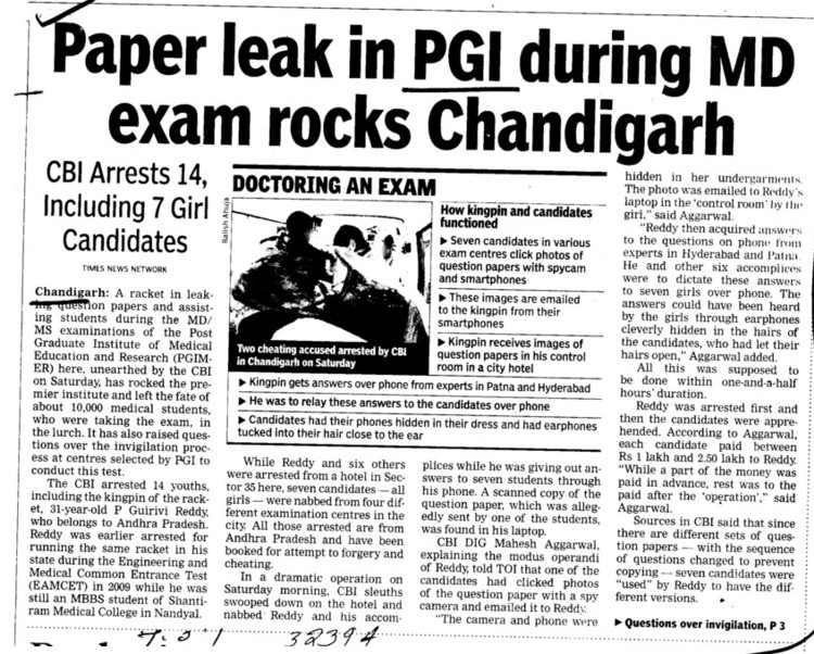 Paper leak in PGI during MD exam rocks Chandigarh (PGIMER Dental College)