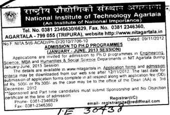 PhD Program (National Institute of Technology NIT)