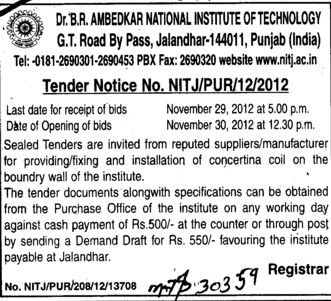 Installation of Boundary Wall (Dr BR Ambedkar National Institute of Technology (NIT))