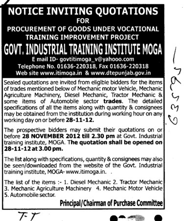 Diesel Mechanic and Tractor Mechanic etc (Industrial Training Institute (ITI))