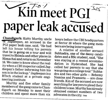 Kin meet PGI paper leak accused (Post-Graduate Institute of Medical Education and Research (PGIMER))