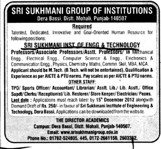 Professor, Asstt Professor and Associate Professor (Sri Sukhmani Institute of Engineering and Technology)