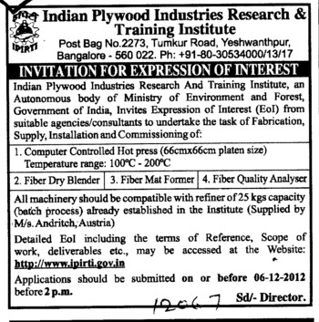 Fiber Dry Blender (Indian Plywood Industries Research and Training Institute (IPIRTI))