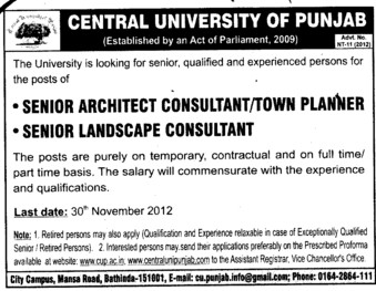 Senior landscape Consultant (Central University of Punjab)