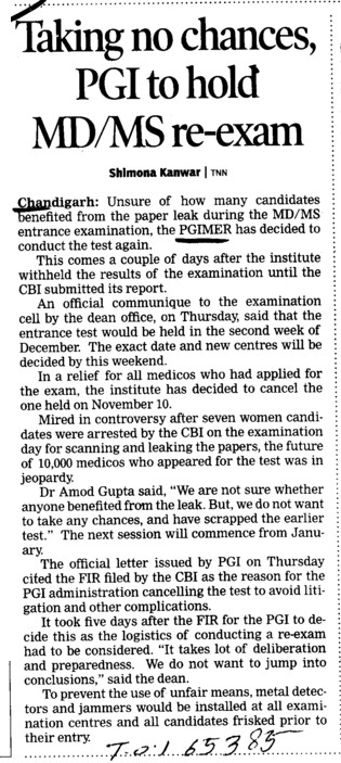 Taking no chances, PGI to hold MD MS re exam (Post-Graduate Institute of Medical Education and Research (PGIMER))