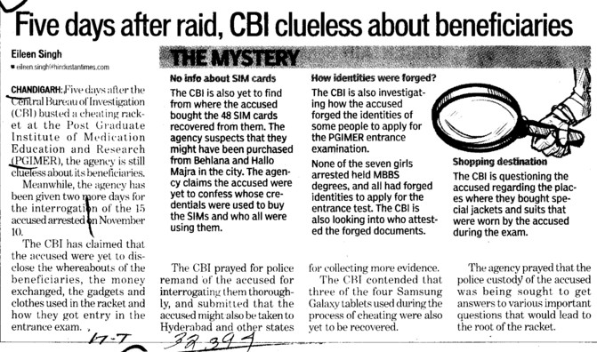 Five days after raid, CBI clueless about beneficiaries (PGIMER Dental College)
