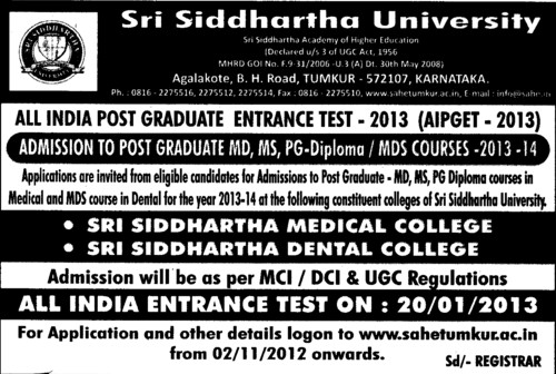 MD, MS and PG Courses (Sri Siddhartha University)