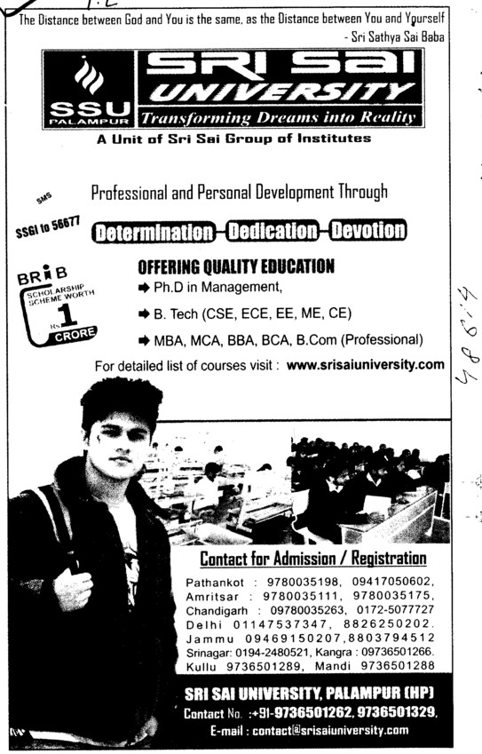 MBA, MCA, BTech and BBA Courses etc (Sri Sai University)