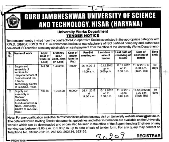 Various types of Furniture (Guru Jambheshwar University of Science and Technology (GJUST))
