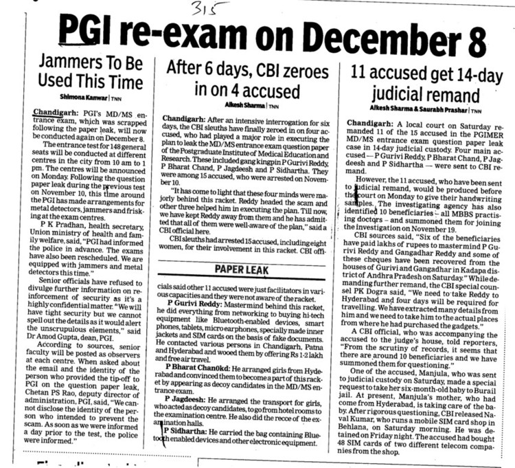PGI re exam on Dec 8 (Post-Graduate Institute of Medical Education and Research (PGIMER))
