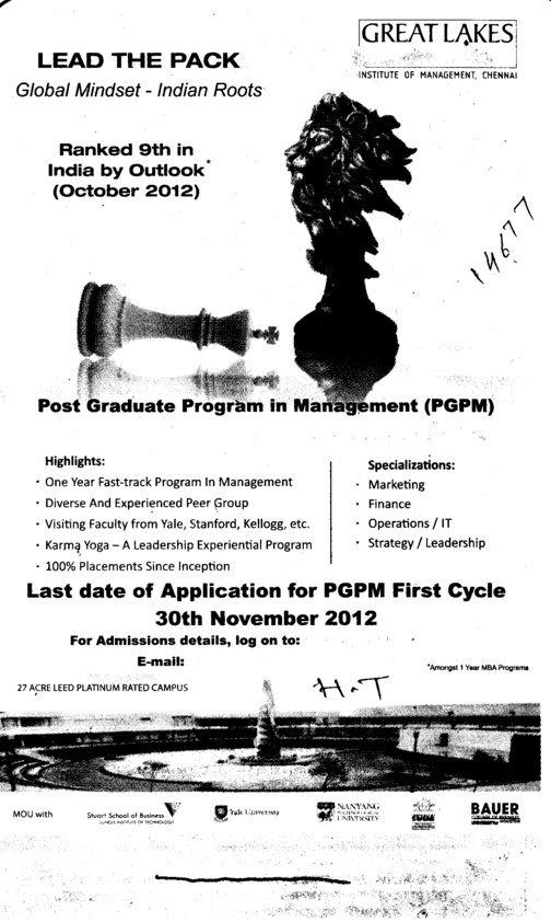 Last date of App. for PGPM first cycle (Great Lakes Institute of Management)
