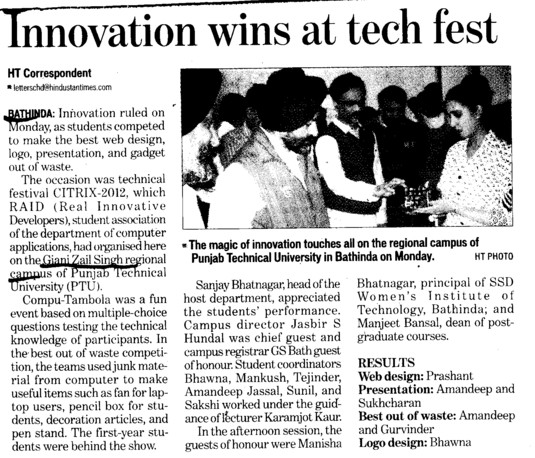 Innovation wins at Tech Fest (Giani Zail Singh College Punjab Technical University (GZS PTU) Campus)