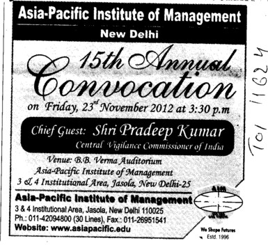 15 th Annual Convocation 2012 (Asia Pacific Institute of Management)