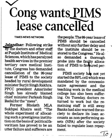 Cong wants PIMS lease cancelled (Punjab Institute of Medical Sciences (PIMS))