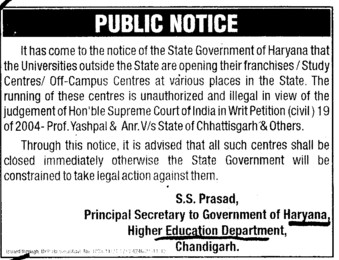 Illegal study centres outside state (Department of Higher Education Haryana)