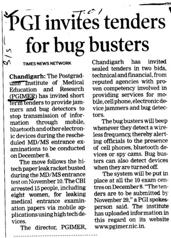 PGI invites tenders for bug busters (Post-Graduate Institute of Medical Education and Research (PGIMER))