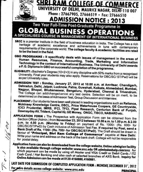 Post Graduate Program in Global Business Operations (Shri Ram College of Commerce)