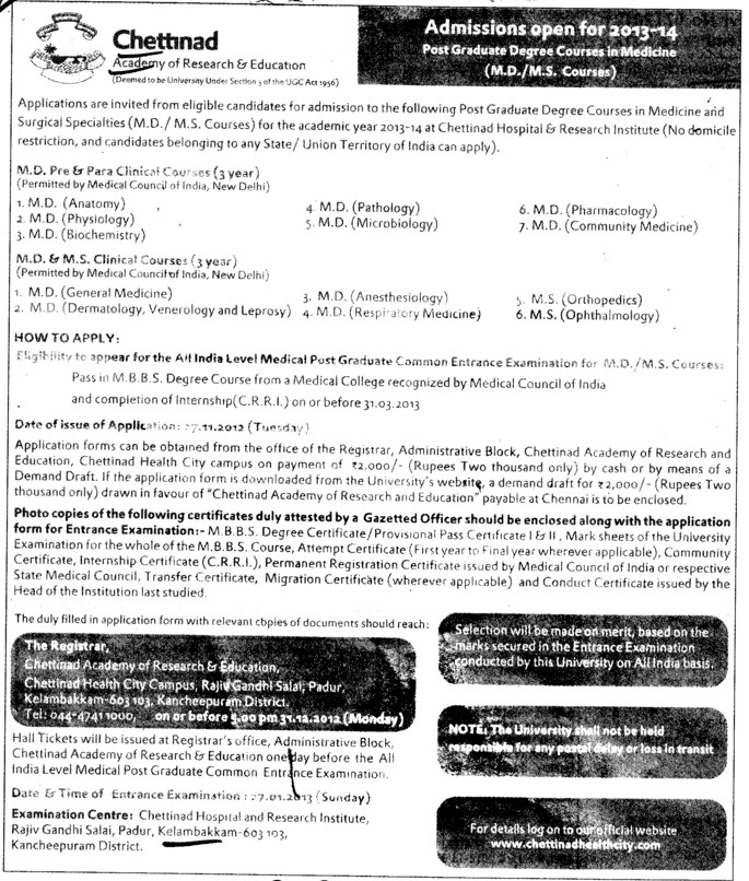 MD and MS Courses (Chettinad University)