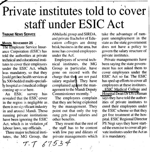 Private institutes told to cover staff under ESIC Act (ESI Medical College)