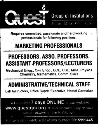 Professor, Asstt Professor and Technical staff etc (Quest Group of Institutions)